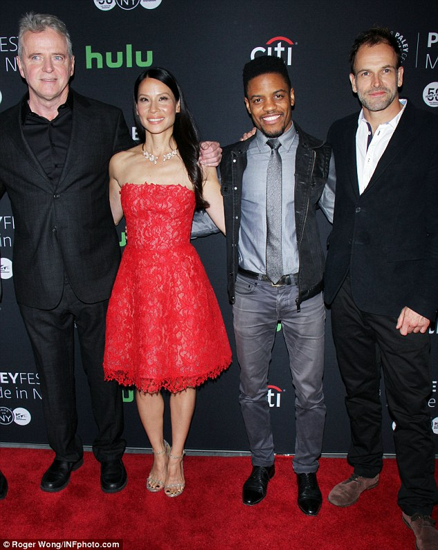 Happy cast: The entire crew appeared in high spirits for their day of press. The show airs on Sundays on CBS