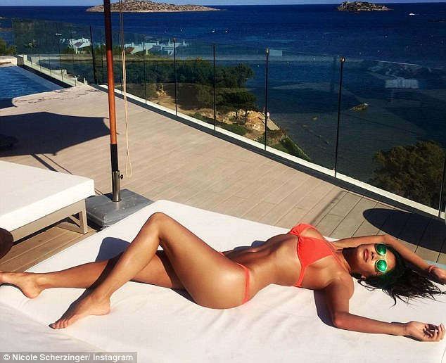 Envy-inducing:Nicole often shows off the fruits of her labours on her Instagram - posting workout snaps and move sequences alongside gorgeous holiday shots in her bikini