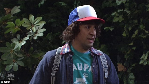 Uncanny: The sketch saw host for the evening, Hamilton creator Lin-Manuel Miranda play Gaten Matarazzo's Dustin character, complete with lisp