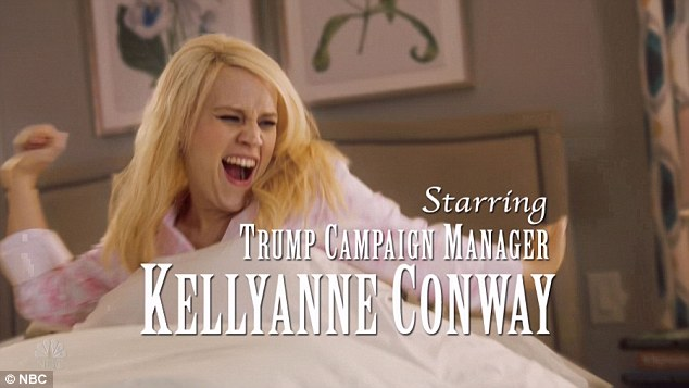 Tough gig: Kate McKinnon then got into the election-season fun playing Trump campaign manager, Kellyann Conway on her day off