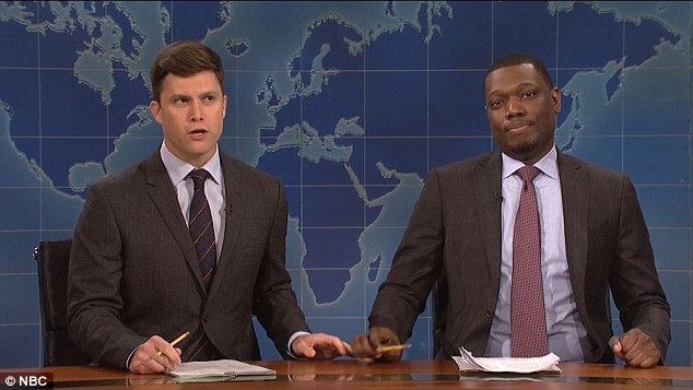 Easy target: Next Colin Jost and Michael Che both got in on the Donald Trump-bashing act on 'Weekend Update.'