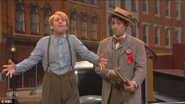 Olden days: Lin-Manuel was then back in a musical production of 'The Music Man' playing a Wells Fargo representative, giving away multiple fake accounts and credit cards to the cast members