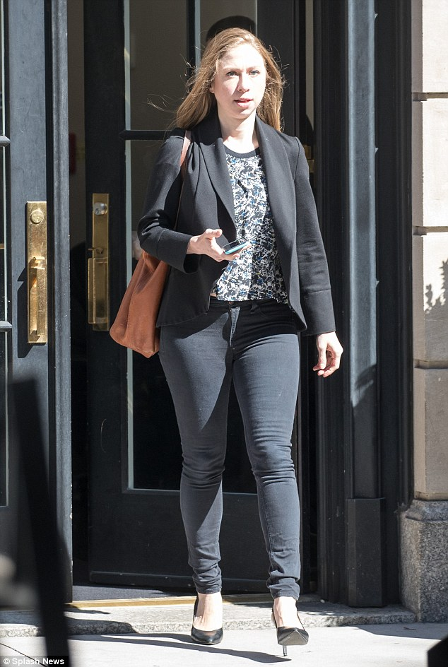 The 36-year-old stepped out of her Flatiron apartment in skinny jeans and heels on Saturday while her mother maintained a low profile in the wake of Trump's hot mic scandal