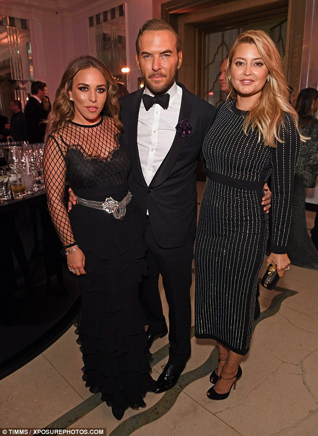 Social butterfly: Inside the bash, she posed with Chloe Green and former Bros star Matt Goss