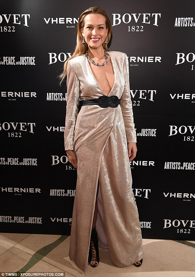Black belt: Petra Nemcova's dress was cinched at the waist with a stylish black belt