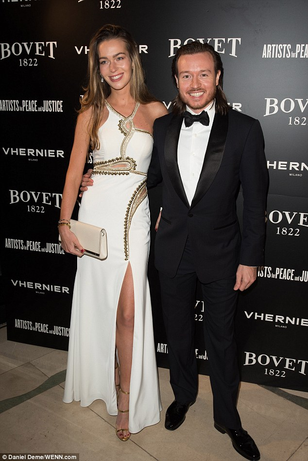 Classic style: Luke Nolan arrived at the event wearing a classic black tuxedo