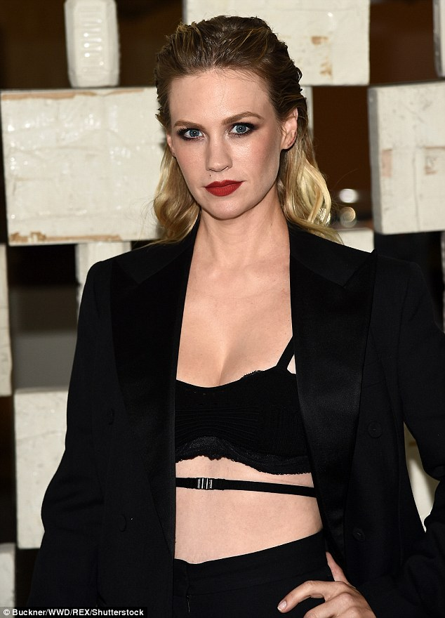 Revealing: The two-time Golden Globe nominee went with an edgy look in a bra-like top which showcased her ample décolletage