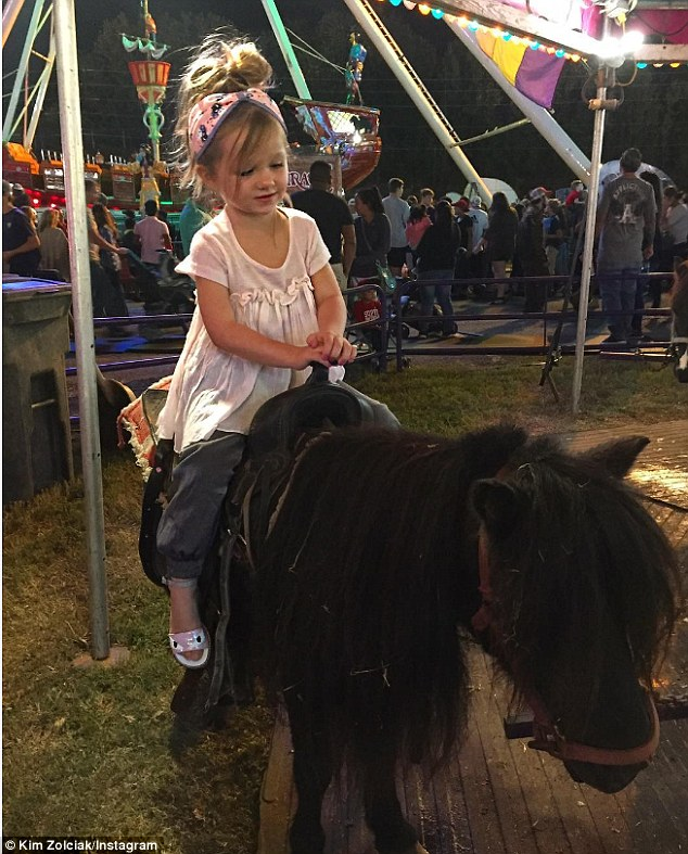 Saddle up: Kim posted this cute Insta of her daughter riding a pony