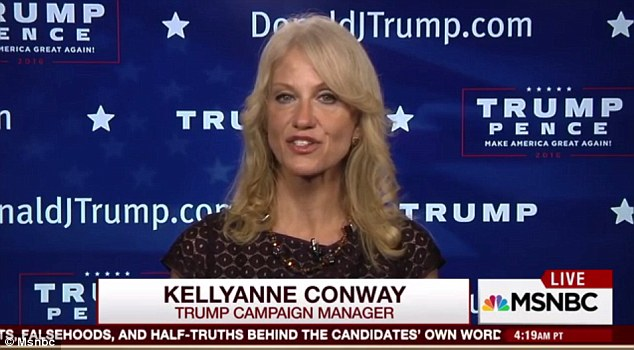 Attack: Conway said on the MSNBC show that Clinton's team knew they had lost and were 'trying