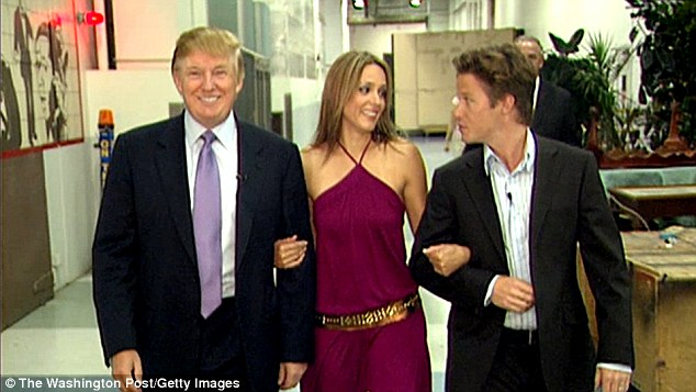 After his foul-mouthed talk with Access Hollywood host Billy Bush (right) off-camera Trump is seen to get off the tour coach and chat with Days of Our Lives actress Arianne Zucker (center)
