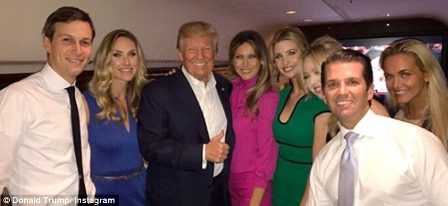 Team Trump:Melania and Ivanka Trump showed their support for Donald Trump at Sunday night's debate in St. Louis (left to right): Jared Kushner, Lara Yunaska, Donald, Melania, Ivanka, Tiffany, Donald Jr. and Vanessa Trump after the debate