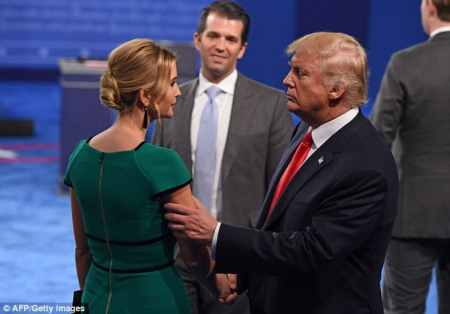 Father and daughter:It was the first time the women had been seen with Donald since audio was released of the GOP nominee making lewd comments about women (Ivanka and Donald are pictured after the debate)