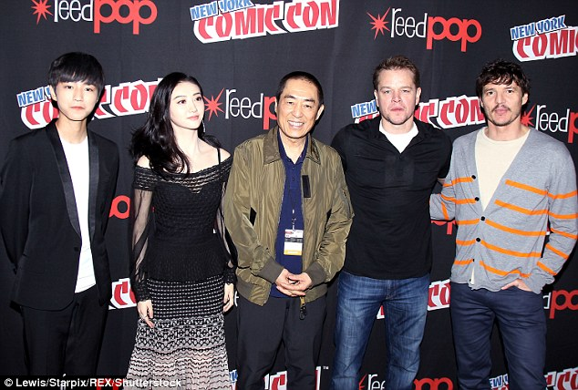 "Good company: Matt was joined by his cast members and director (L-R) Wang Junkai, 17, Jing Tian, 28, Zhang ""Zym"" Yimou, 64, and Pedro Pascal, 41"