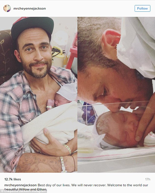 'Welcome to the world': On Friday, actor Cheyenne Jackson and his husband of two years Jason Landau became the fathers of fraternal twins, an event both commemorated on Instagram
