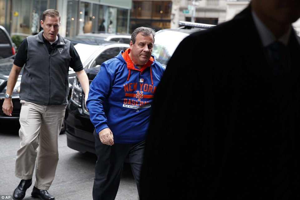 Governor Chris Christie arrives at Trump Tower on Saturday, where Donald Trump spent most of the day preparing for Sunday's presidential debate