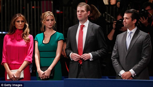 Designer dress: Instead, Ivanka, pictured second from left next to stepmother Melania, far left, and brothers Eric and Donald Jr, right, wore a striking $2,295 Roland Mouret design