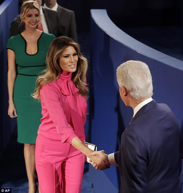 Fashionable family: Donald's third wife Melania chose a $1,100 Gucci blouse for the event
