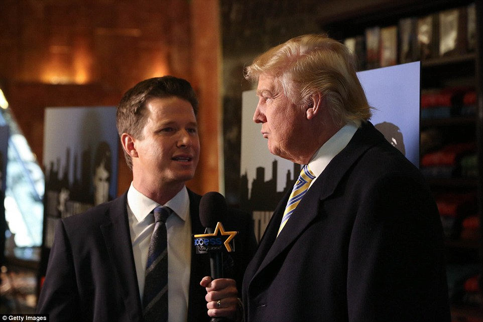 "Donald Trump is interviewed by Billy Bush of Access Hollywood at ""Celebrity Apprentice"" Red Carpet Event at Trump Tower on January 20, 2015"