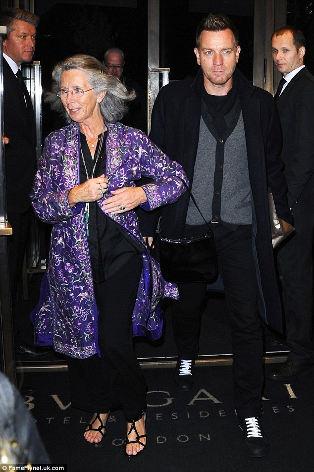 Too cute: Ewan McGregor stepped out with his beloved mum, Carol, on Saturday evening