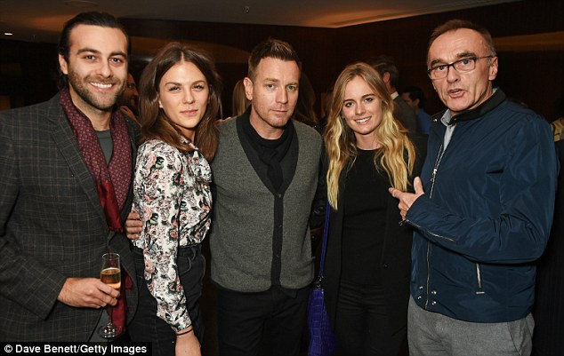 Good times: Keen to support their son in his latest project, they also joined celebrities such as Cressida Bonas and Trainspotting director Danny Boyle, where guests sipped on Perrier Jouet