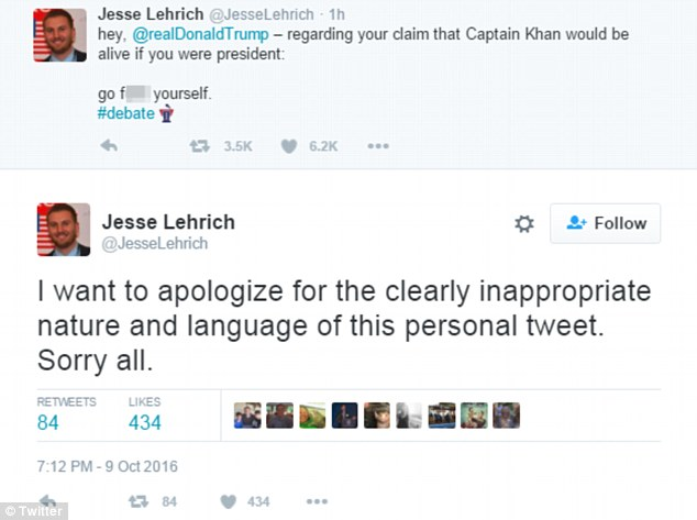 The Clinton aide, Jesse Lehrich, a foreign policy spokesman to the Democrat, apologized a half hour later