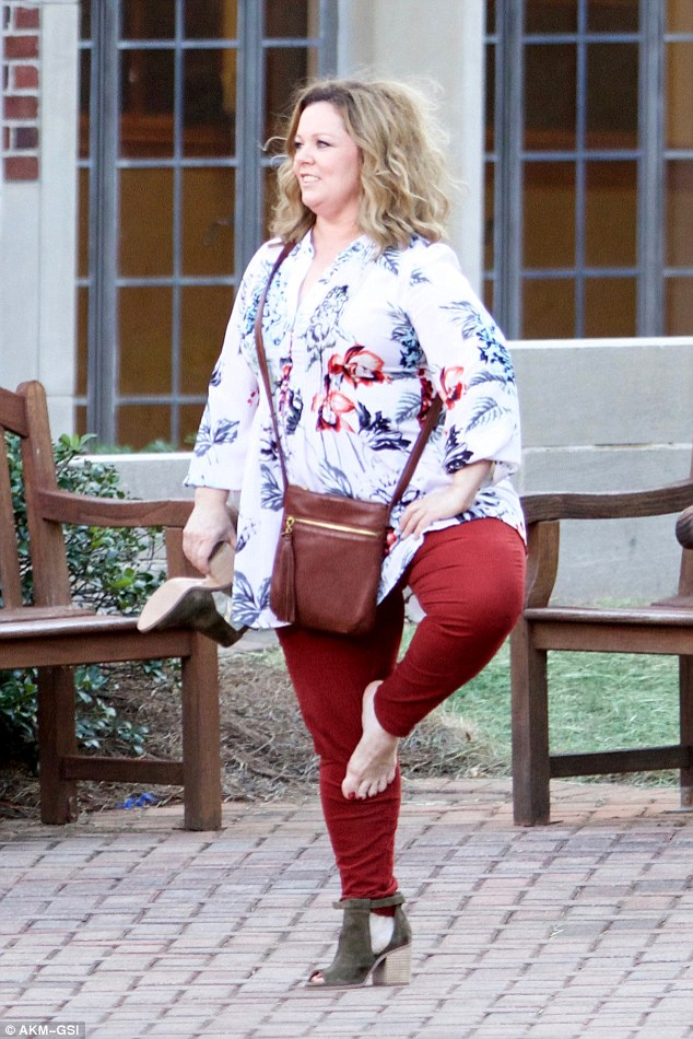 Too much dancing? Melissa McCarthy ditched her heels as she filmed Life Of The Party in Atlanta, Georgia this last week