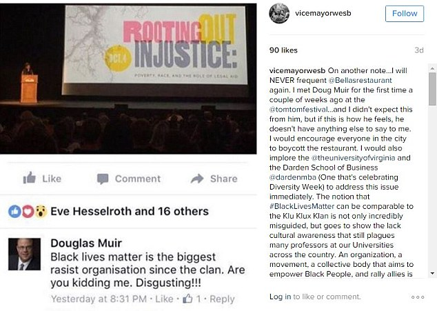 The mayor of Charlottesville, Wes Bellamy, posted a lengthy statement on his Instagram account in response to Muir's comment