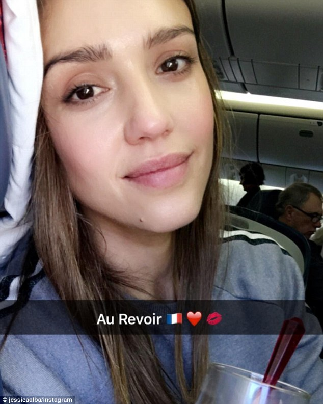 'Au Revoir':Jessica shared a photo to her Instagram on Wednesday after she boarded a plane heading back to LA
