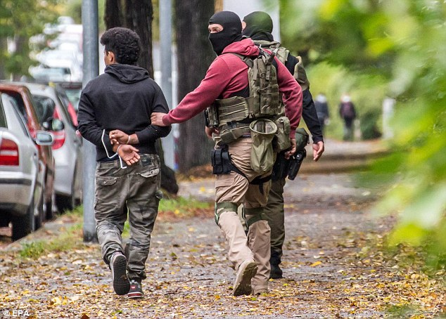 Policemen could be seen arresting a person at a residential area in Chemnitz, eastern Germany on Saturday. His identity is not yet known