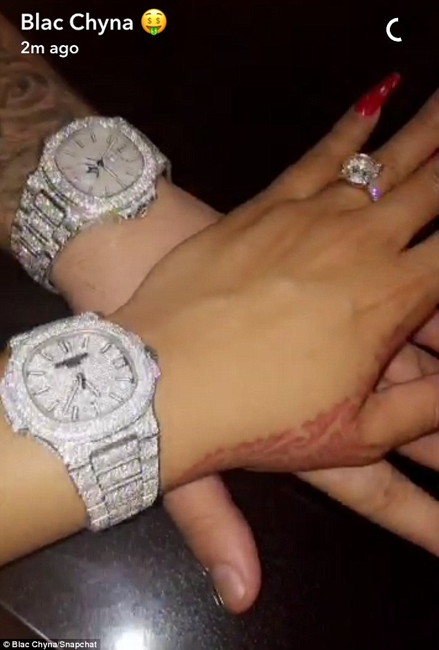 Shimmering, glimmering: On Friday, Blac Chyna uploaded a Snapchat post showing herself and herfiancé Rob Kardashian showing off matching wristwatches
