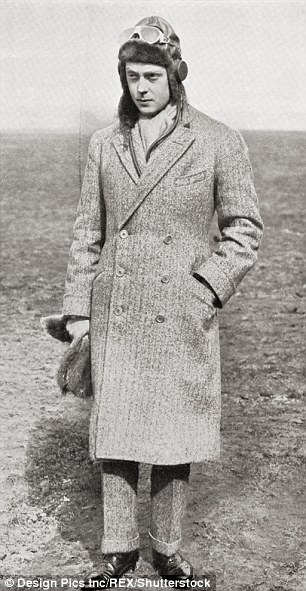 King Edward VIII in his flying helmet in 1927