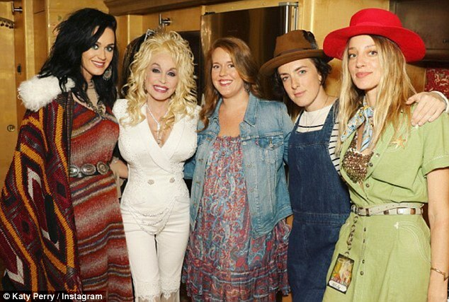 Backstage: Katy Perry looked in awe of her idol Dolly Parton, in a snap she posted to Instagram on Saturday