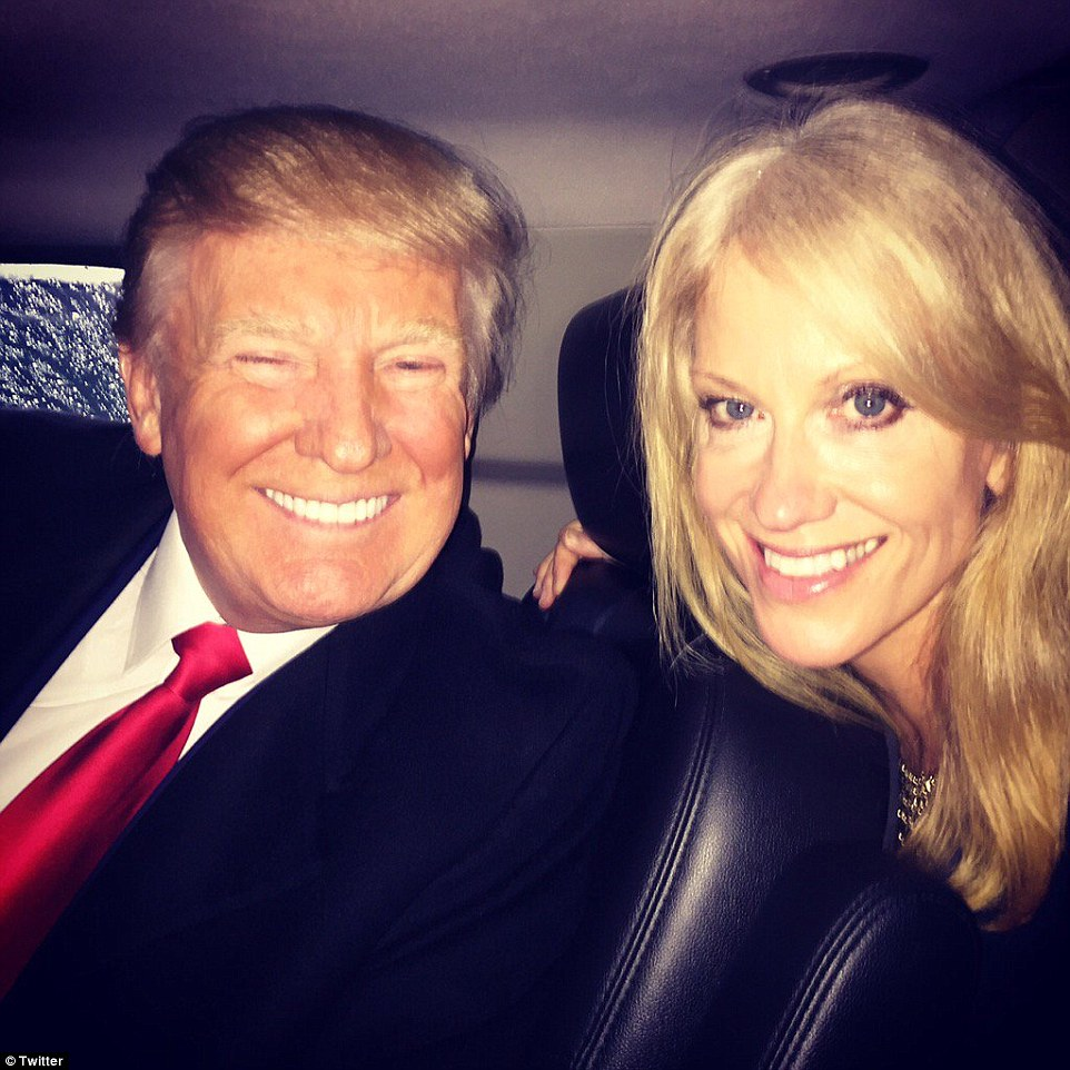 After a series of tweets, it has been implied Trump will use Juanita Broaddrick, who claimed Bill Clinton raped her, as leverage against Clinton in what is expected to be a nasty debate (pictured with campaign manager Kellyanne Conway en route to St Louis)