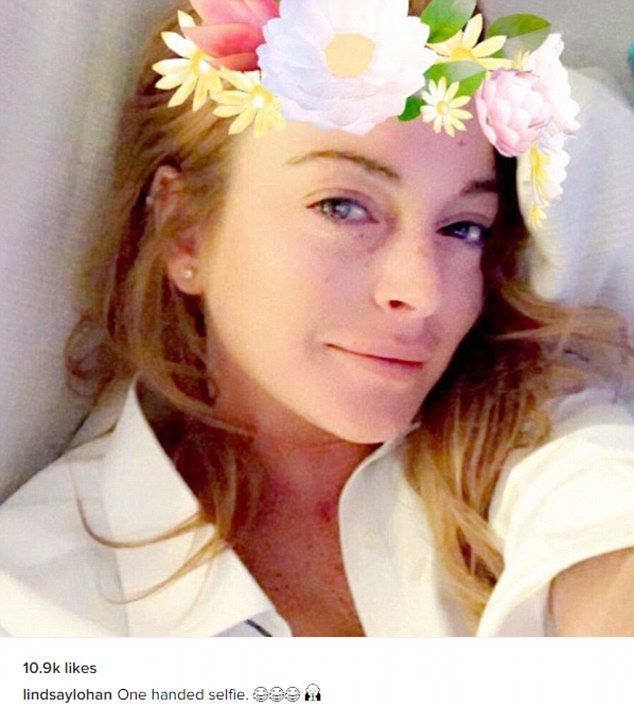 Staying strong: Lindsay proved she was still in good spirits on Monday when she took to Instagram to share her first selfie since she suffered the horrific hand injury