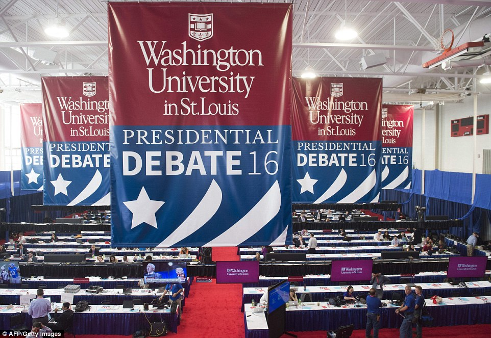 The media center is seen prior to the second presidential debate between the cadidates