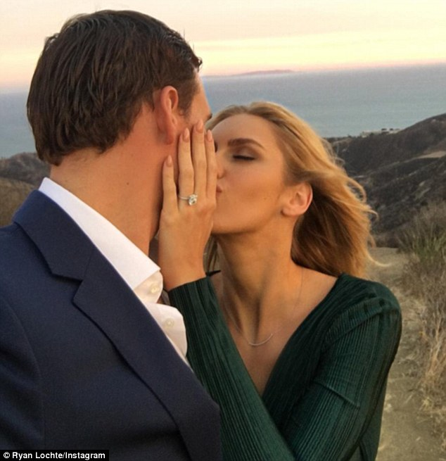 Dazzling: The 32-year-old popped the question in Malibu Canyon with a huge diamond sparkler