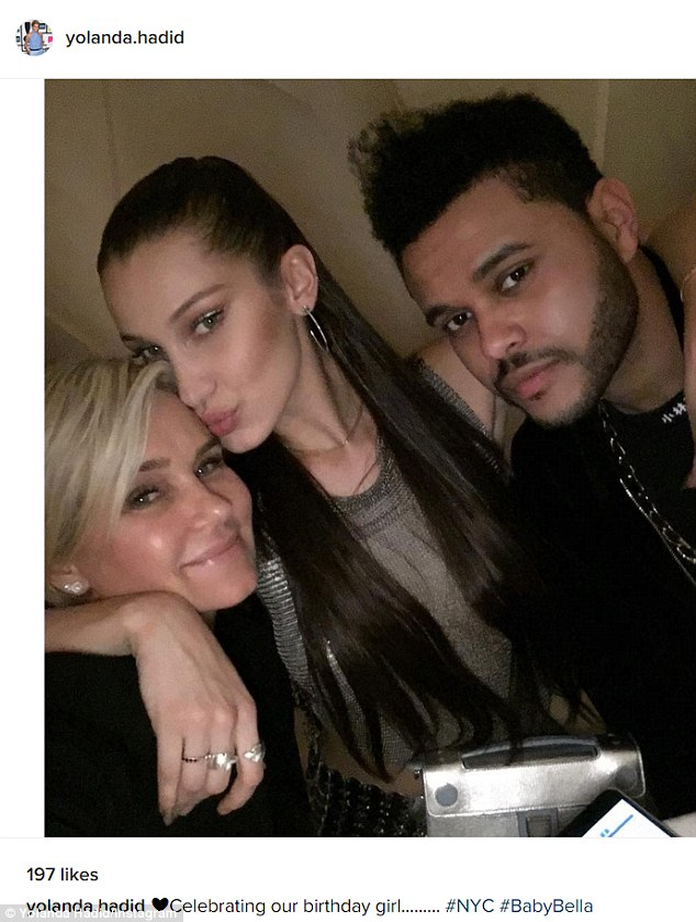 The guest of honour:The former Real Housewives Of Beverly Hills star also posted a photo of herself with Bella and The Weeknd