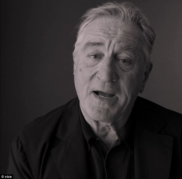 A video clip of Robert De Niro (pictured) slamming Donald Trump while filming a political testimony video for non-partisan group has surfaced