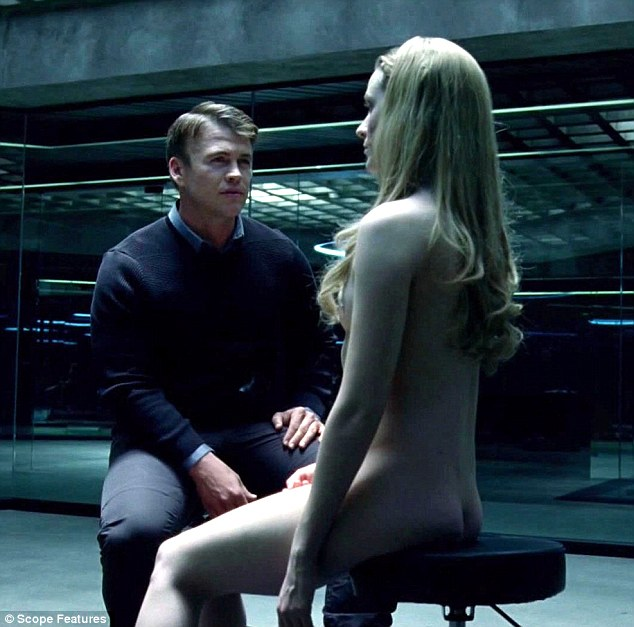 Naked ambition: Evan Rachel Wood also goes fully naked as character Delores in a scene opposite Luke Hemsworth