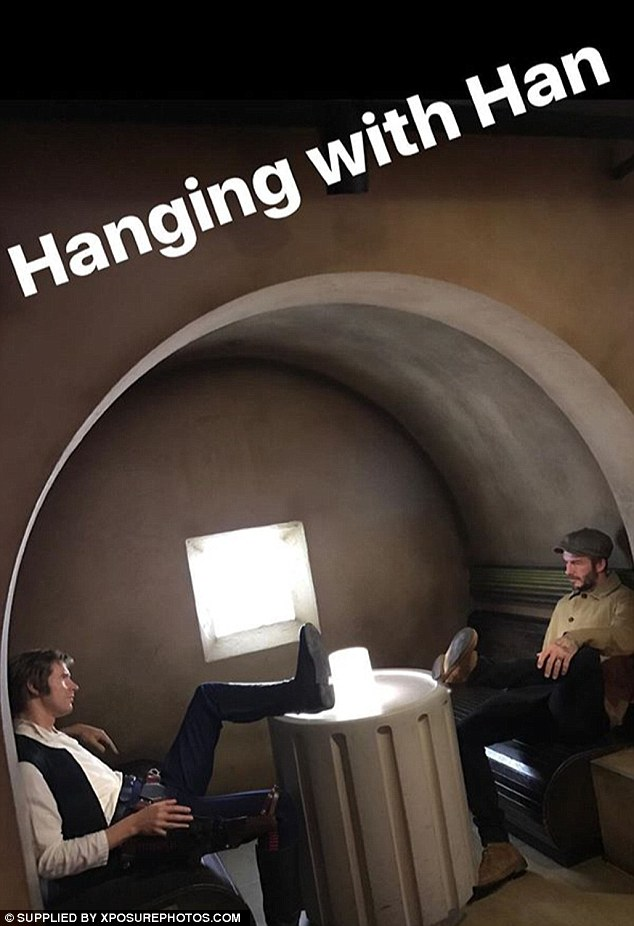 Fun times: Later that afternoon, he Snapchatted a picture Hans Solo