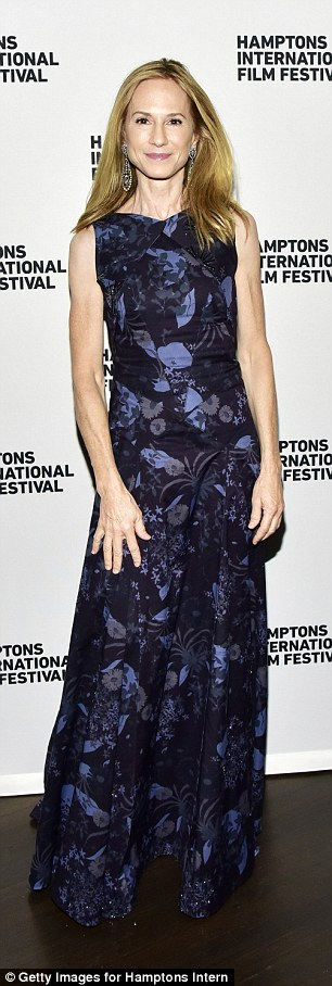 Glam: The Piano star Holly Hunter looked fab in a floor length floral navy gown