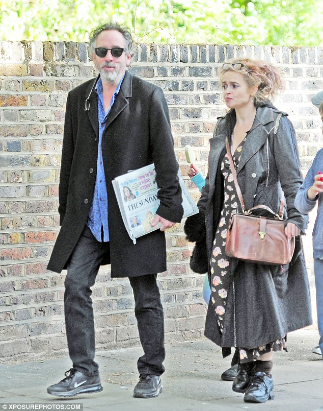 Family affair: Helena Bonham Carter and her ex husband Tim Burton continued to put on a united front as they enjoyed a family day out in London with their two children on Sunday