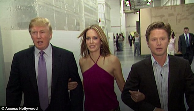 The married woman Trump was referring too was identified as O'Dell by Access Hollywood during the show's Friday night episode. Arianne Zucker (middle) walks between Donald Trump and Billy Bush moments after they were recorded making shocking comments in 2005