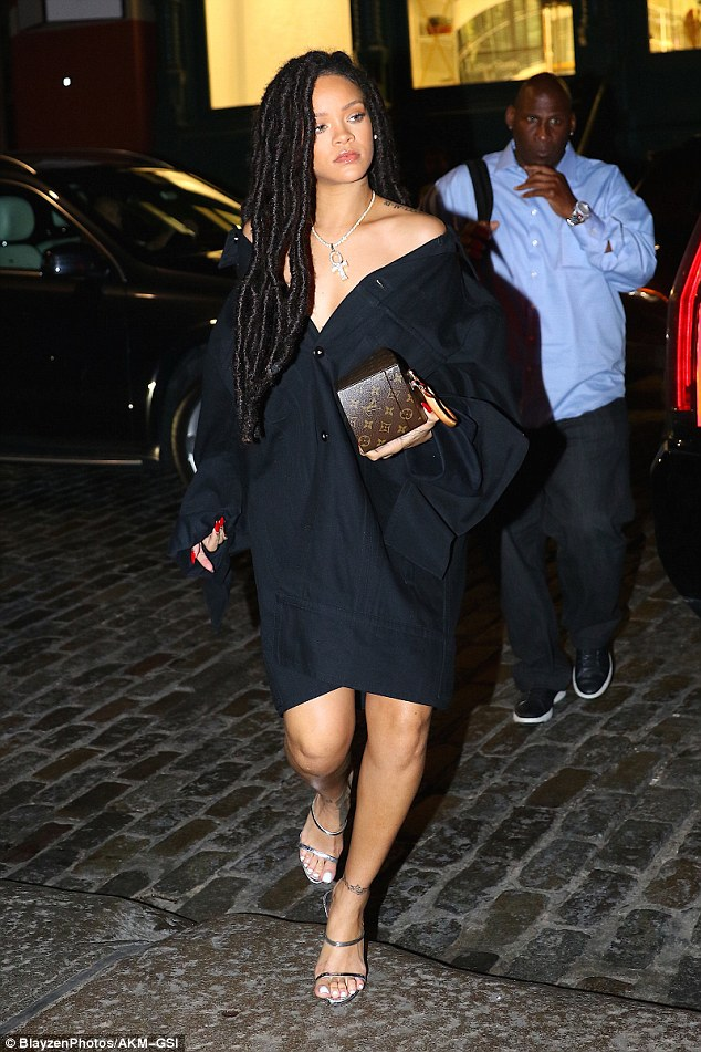 City girl: Rihanna continued to put her bold fashion sense on display during a night out in New York City on Friday