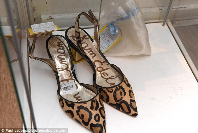 A pair of £100 designer leopard print kitten heels by Sam Edelman took pride of place at the store