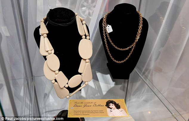 A circular stone necklace and gold layered number were among the pieces donated by the actress