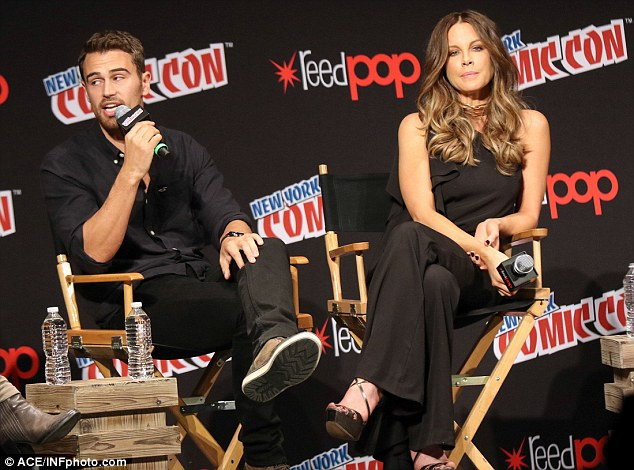 Dapper gentleman: The Serendipity actress was joined at the panel by her co-star Theo James, who plays David in the film
