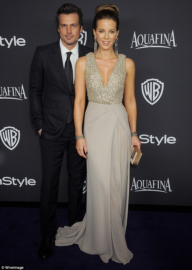 Happier times: Kate married Len Wiseman in 2004; in November 2015, they announced their plans to divorce; pictured at the InStyle Post-Golden Globe party in January 2015