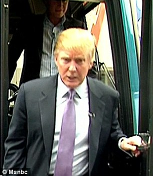 Donald Trump is seen stepping off a bus just moments after he made the 'horrific' comments that were recorded in 2005