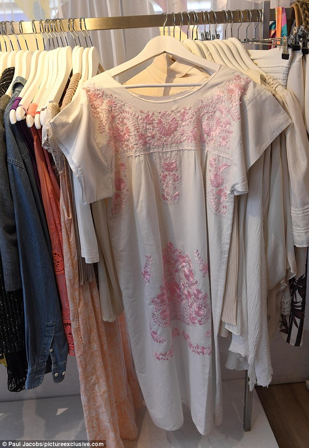 Thei white dress with pink floral embroidery is on sale for £60